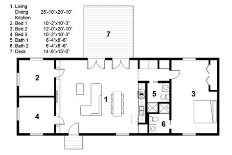 Home Design For Rectangular Plot Ranch Style House Plan 3 Beds 2 Baths 1276 Sq Ft Plan