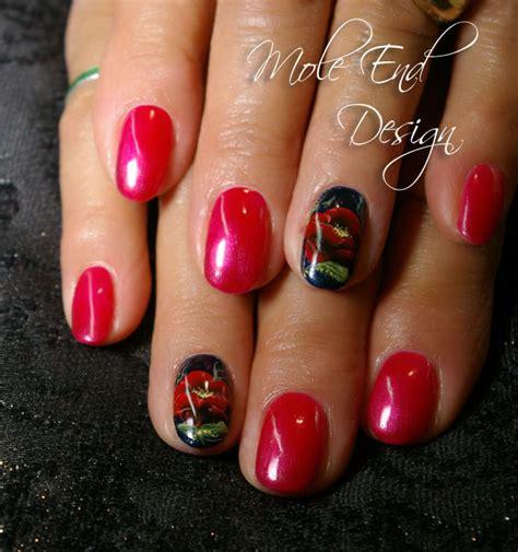 easy nail art poppy design one stroke susie s nail art mole end design