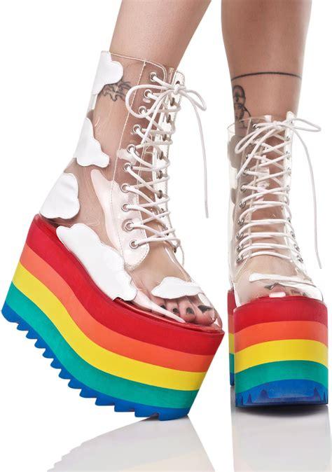 Shoes Rainbow current mood happy daze platforms dolls kill