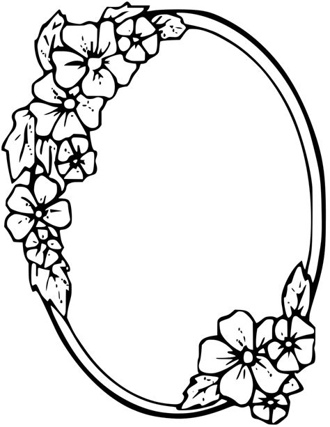 Easy To Draw Chandelier Floral Oval Frame Page Frames Floral Leaves Gray Floral
