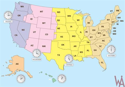 usa time zones maps state wise time zone map of the usa whatsanswer