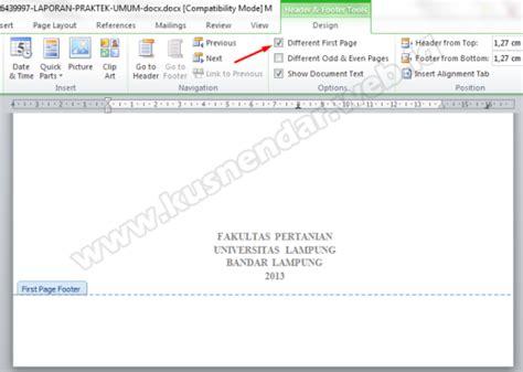 cara membuat halaman footer di word 2010 cara membuat nomor halaman berbeda beda di word dalam satu