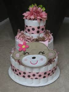 pink monkey diaper cake for baby by mrsheckeldiapercakes