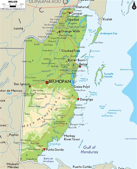 physical map of belize ezilon maps