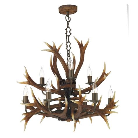 Antler Ceiling Light Rustic Stag Antler Tiered Ceiling Pendant Light Brown Highland Colours