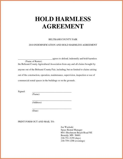 Hold Harmless Form Template Business Hold Harmless Agreement Template Free