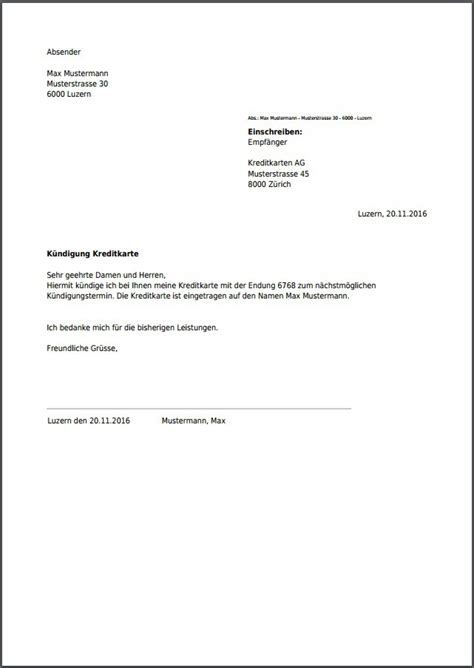 Brief Einschreiben Schweiz Vorlage K 252 Ndigung F 252 R Kreditkarte Kostenlos Als Pdf Erstellen