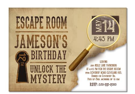 printable escape room kit free escape room invite boys or girls birthday invitation gold