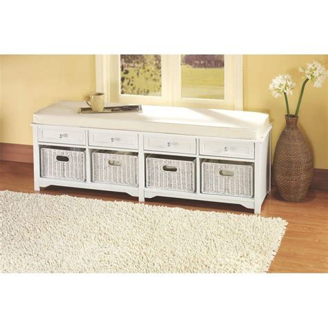 Home Decorators Bench by Home Decorators Collection Oxford White 4 Basket Storage Bench 3491420410 The Home Depot