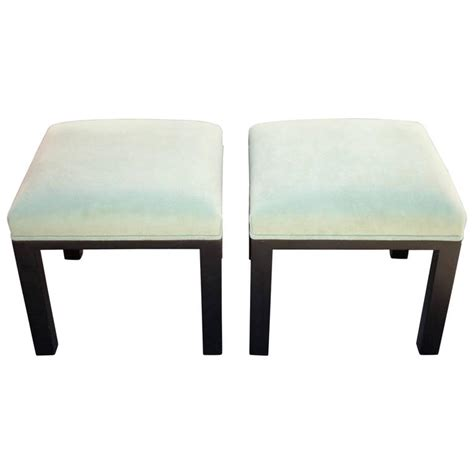 Low Ottomans Pair Of Pistachio Green Upholstered Ottoman Or Low Stools By Michael For Sale At 1stdibs