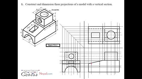 engineering drawing tutorials orthographic drawing  vertical section   youtube