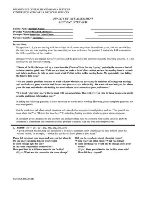 Form Cms 806a Quality Of Life Assessment Resident Cms Facility Assessment Template