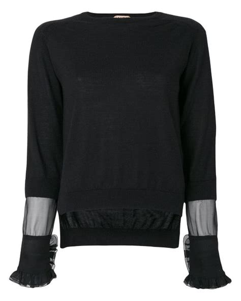 Panel Sleeve Knit Top n 176 21 sheer panel and frill trim sleeve knit top in black