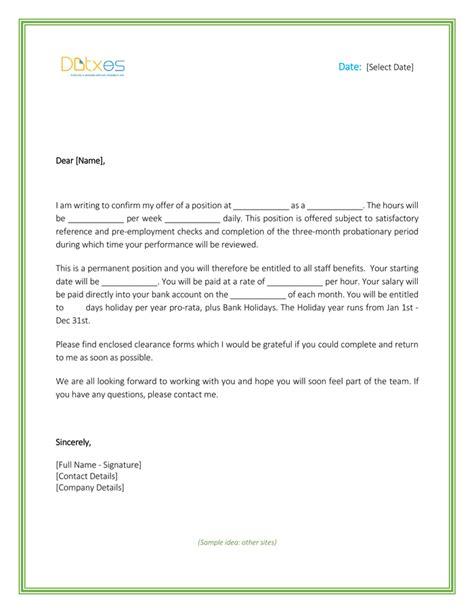 job offer letter formats sample