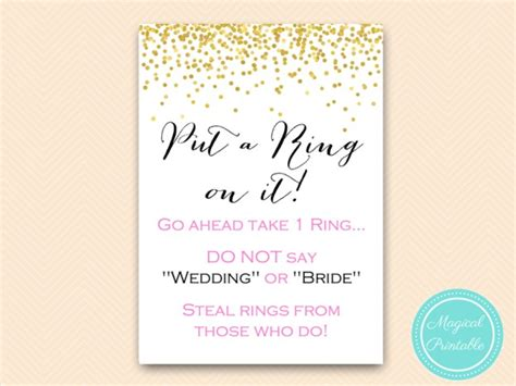 Put A Ring On It Bridal Shower Printable put a ring on it pink and gold bridal shower magical