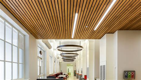 Rulon Linear Wood Ceiling by Ucl Refurbishment Features Douglas Linear Ceiling