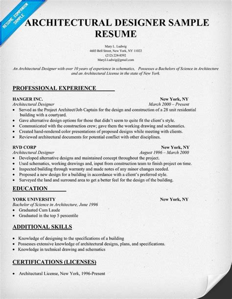 Resume Template Architecture Architectural Designer Resume Sle Architecture Resumecompanion Resume Sles