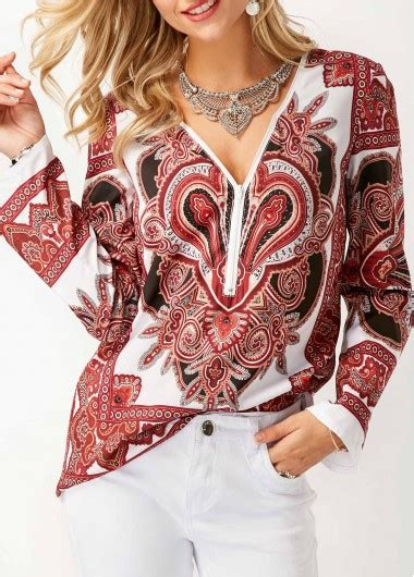Printed V Neck Sleeve Blouse v neck sleeve printed blouse rosewe usd 29 58