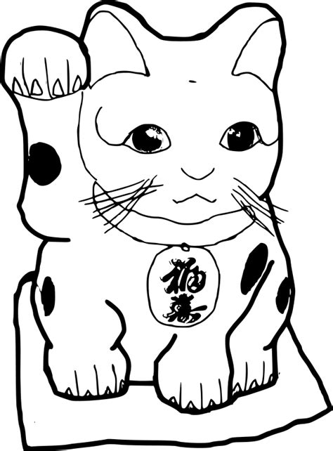lucky cat coloring page clipart maneki neko lucky cat