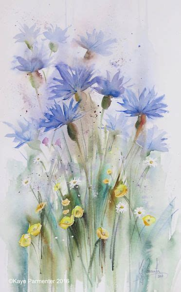 watercolor tattoo ober sterreich cornflowers and buttercups ws watercolor
