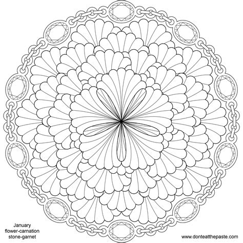 mandala coloring pages of flowers don t eat the paste january birthstone and flower mandala