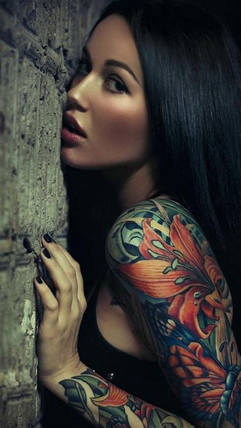 girl quarter sleeve tattoo tumblr sexy sleeve tattoo girl the iphone wallpapers