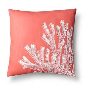 coral colored throw pillows threshold embroidered decorative pillow coral target