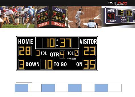 scoreboard template team football scoreboard template for free formxls