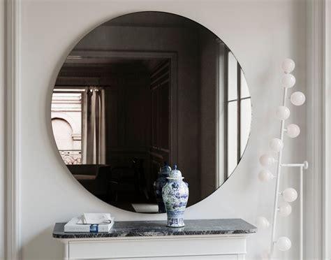black mirror glass black wall mirror round midcentury inspired handmade