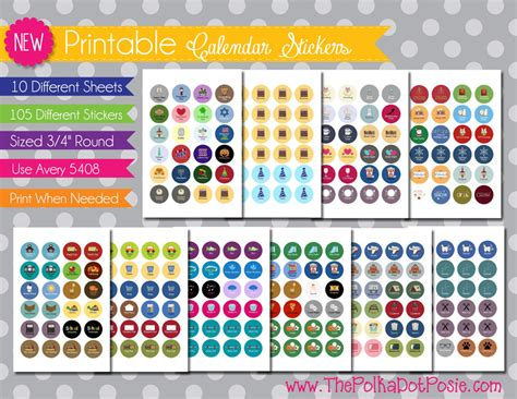 printable calendar stickers new printable planner stickers everyday set by