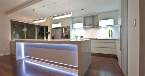 led lights  island bench homes  dalessio builder great   lights feature island