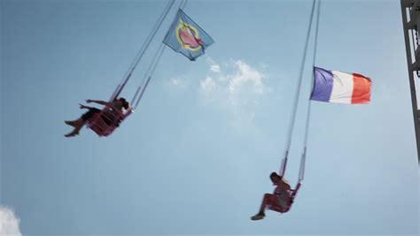 flying swing ride flying swing in amusement park stock footage video