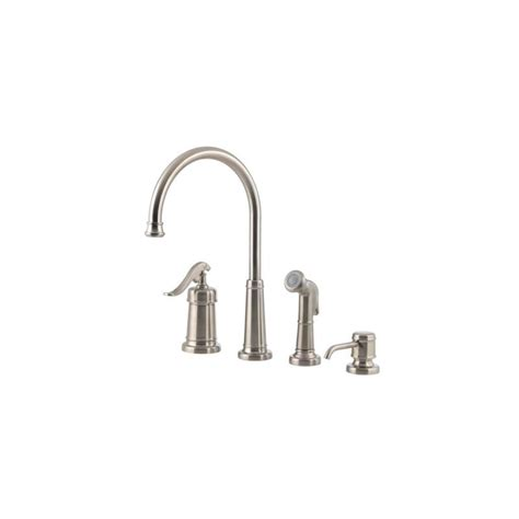 pfister gt26 4ypu ashfield 4 hole kitchen faucet in rustic faucet com lg26 4ypk in brushed nickel by pfister