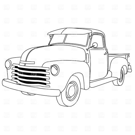 Old Trucks Coloring Old American Pick Up Truck International Tree Coloring Page