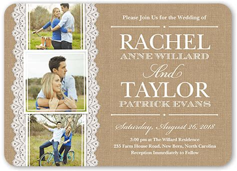 wedding invitation ideas with photos burlap and lace 5x7 wedding invitations shutterfly