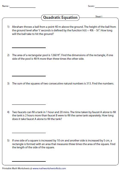 Word Problems With Quadratic Equations Worksheet by Quadratic Equation Word Problems Worksheet Geersc