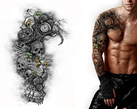 chest half sleeve tattoo designs chest and sleeve tattoos designs amazing