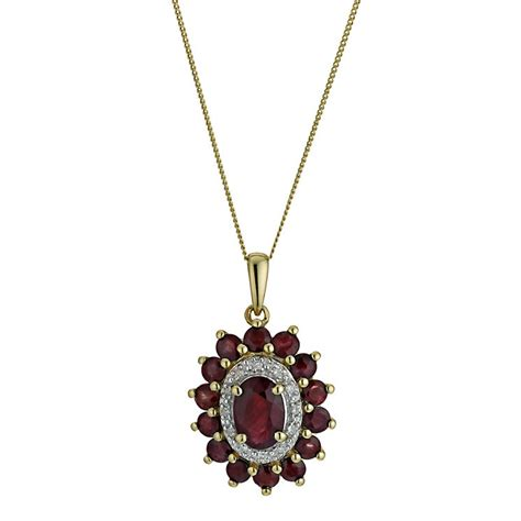 9ct yellow gold oval ruby pendant h samuel