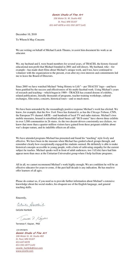 Parent Volunteer Letter Of Recommendation Sally Cbell