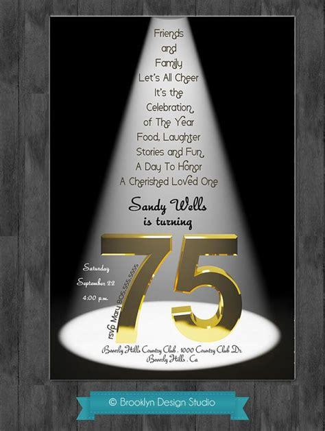 75th Birthday Quotes For 75th Birthday Party Ideas 75th Birthday Bash Custom
