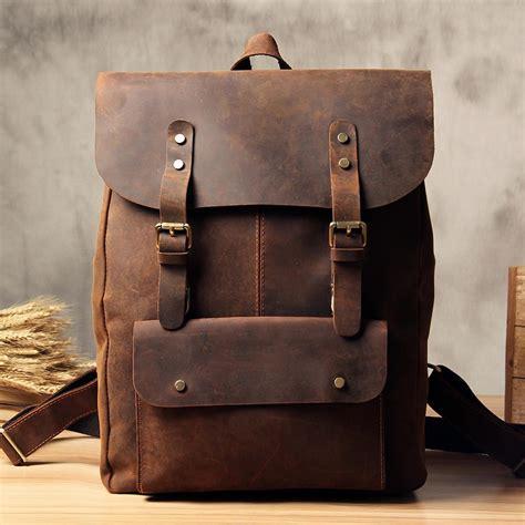 Vintage Bag vintage leather school backpack casual travel backpack laptop bag in v lisabag