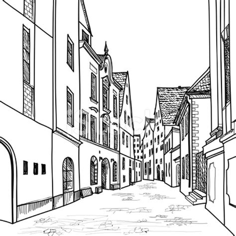 old european houses and hand drawing sketch stock vector