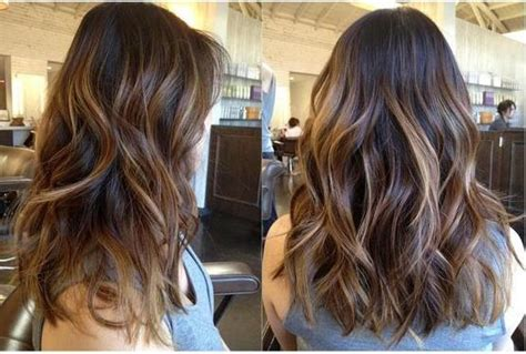 layered hair with caramel highlights