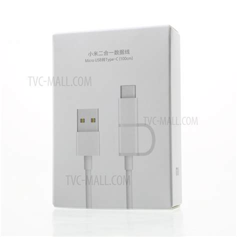 Kabel Charge Data Xiaomi 2in1 Micro Usb Type C 100cm Asus Oppo Samsung image of xiaomi 1m 2 in 1 data charge cable type c micro usb for xiaomi mi 5s redmi 4 etc white