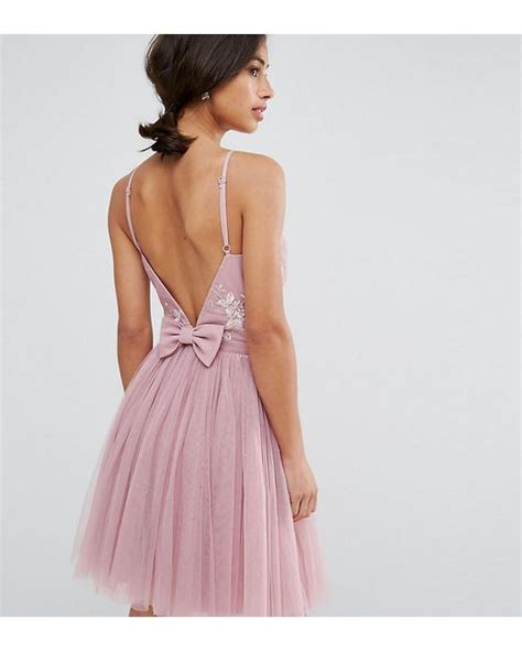 Mini Bow Back Dress lyst embellished top mini tulle prom