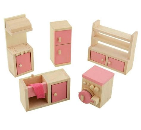 dolls house kitchen furniture doll house wooden kitchen furniture set 163 7 96 picclick uk