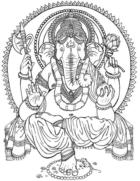 cute ganesha coloring pages lord ganesha outlined by chewbaccabigsis on deviantart