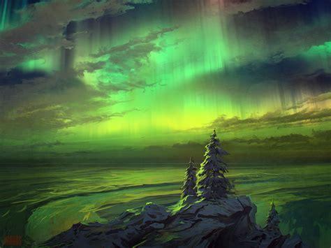 Landscape Light Painting Speedpaint Nothern Light By Rhads On Deviantart