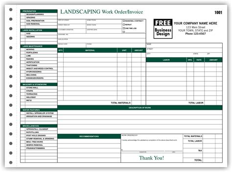 landscape templates free work order forms landscaping work order invoices