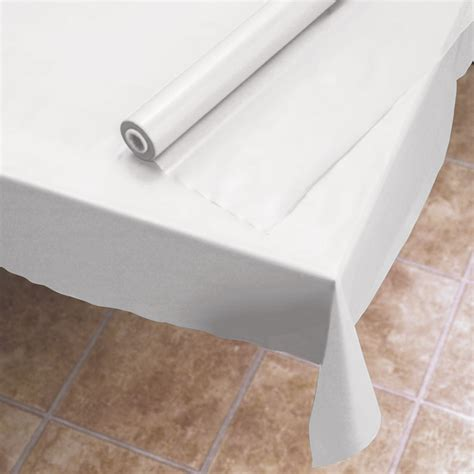 plastic table cover 40 quot x300 white plastic table cover roll dovs by the